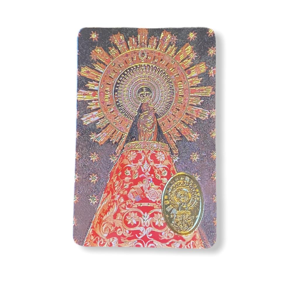Estampa con medalla Virgen del Pilar