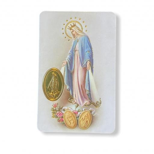 Estampa con medalla Virgen Milagrosa