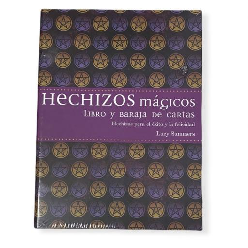 Hechizos mágicos, libro y baraja de cartas