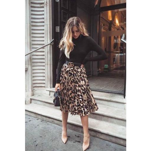 Falda plisada leopardo