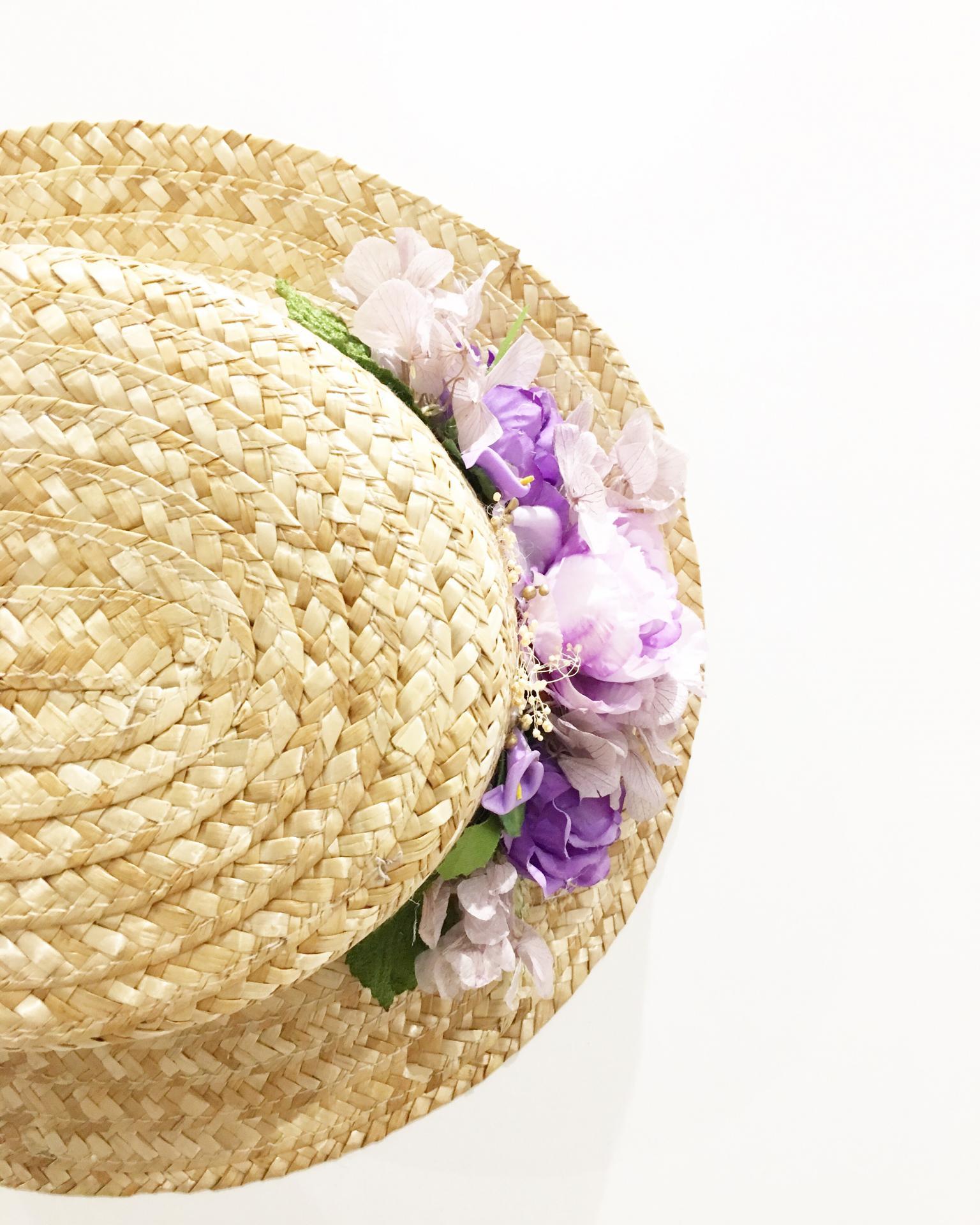 Canotier flores lilas