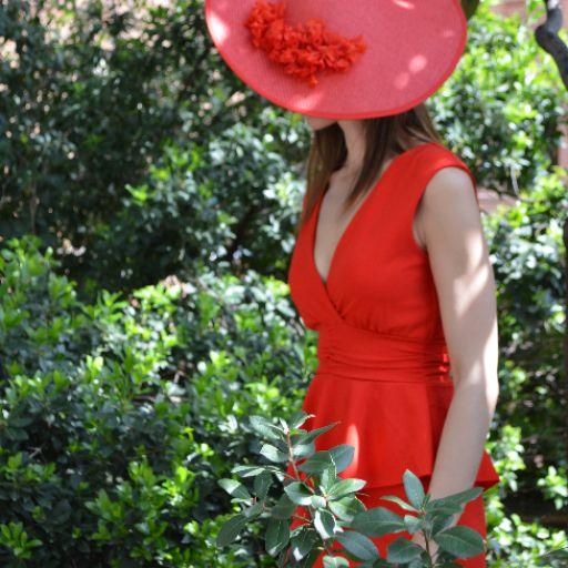 Vestido rojo corte peplum [0]