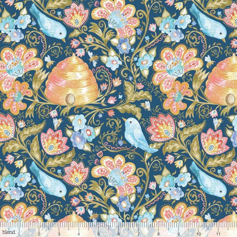 Tela patchwork de fondo azul con pájaros y flores
