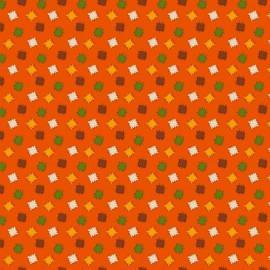 Tela algodón naranja con parches de colores