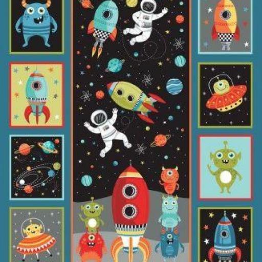 Panel con cohetes, aliens y astronautas