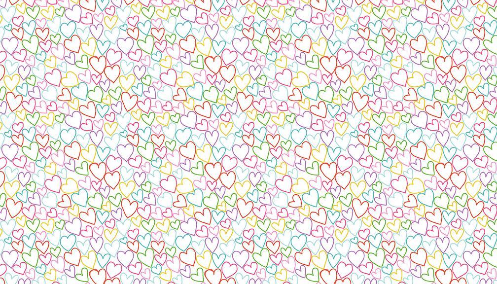 Tela patchwork de fondo blanco con corazones de colores