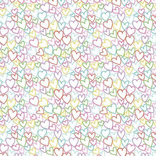 Tela patchwork de fondo blanco con corazones de colores [0]