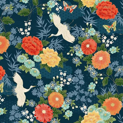 Tela patchwork azul marino con flores y grullas