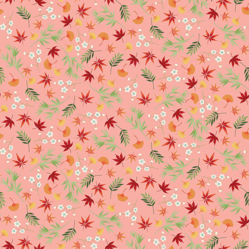 Tela patchwork rosa con hojas y florecillas blancas