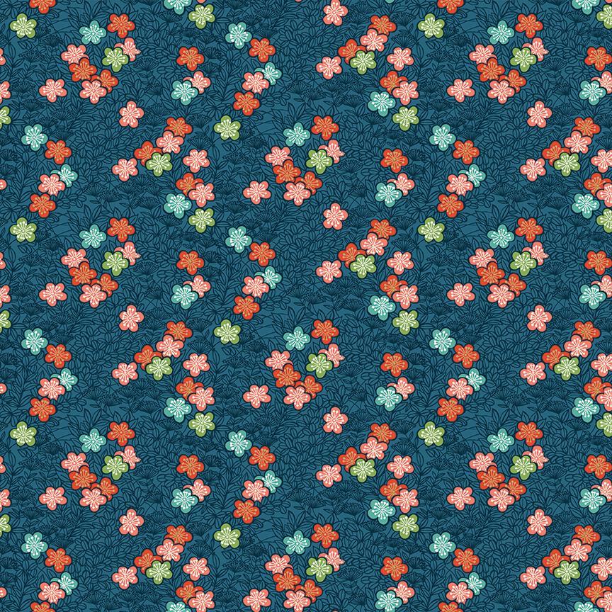 Tela patchwork azul con flores pequeñas