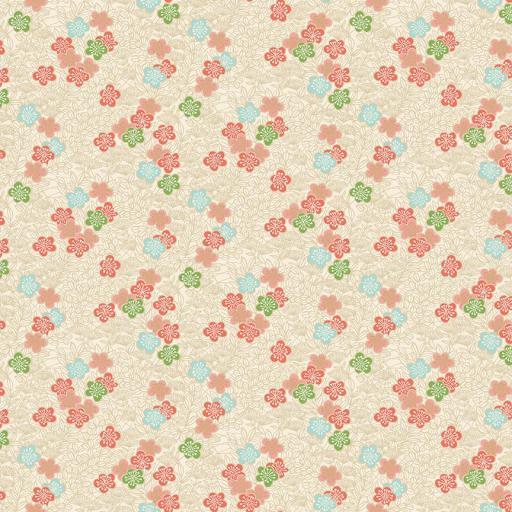 Tela patchwork beige con flores pequeñas