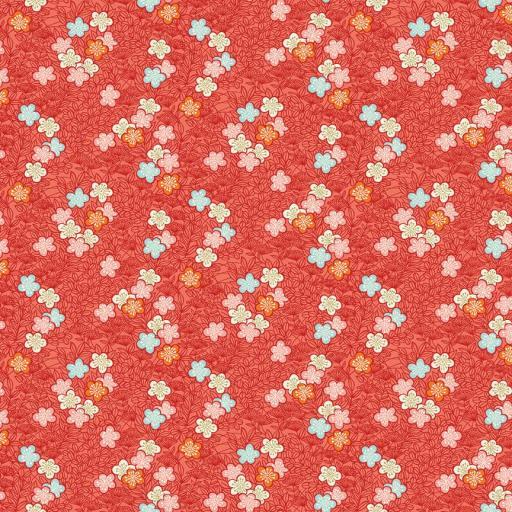 Tela patchwork coral con flores pequeñas