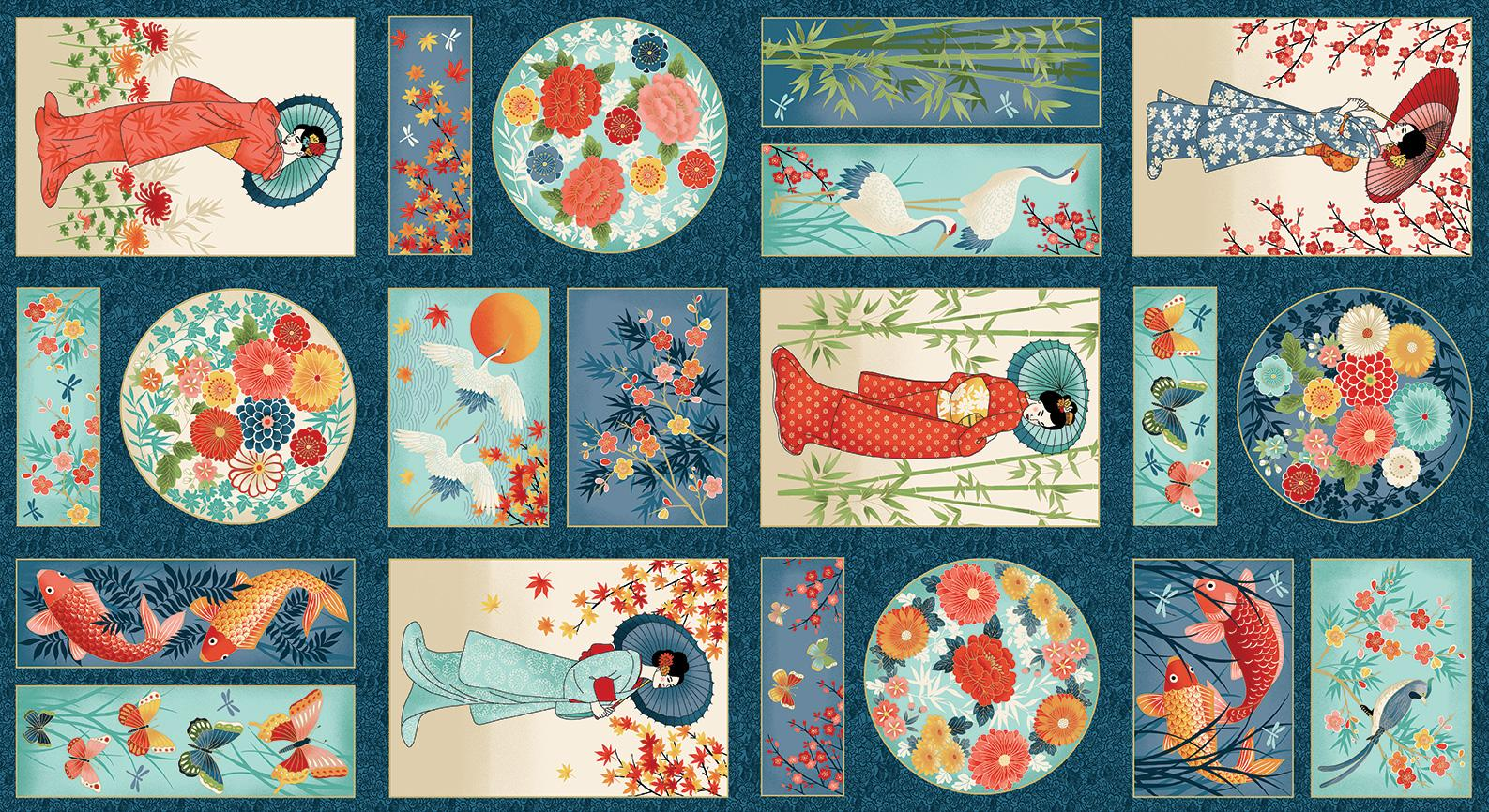 Panel patchwork Geishas