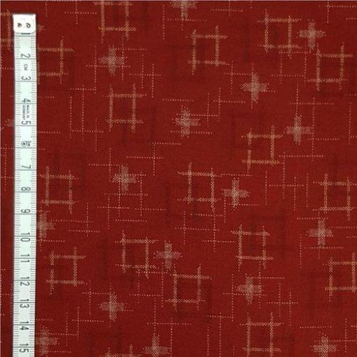 Tela patchwork japonesa roja con motivos claros