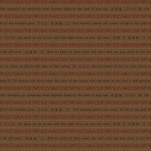 Tela patchwork fondo marrón con cenefas florales y de frases