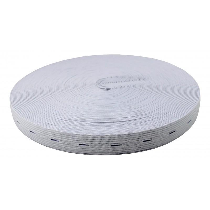 Goma plana blanca con ojales 20 mm