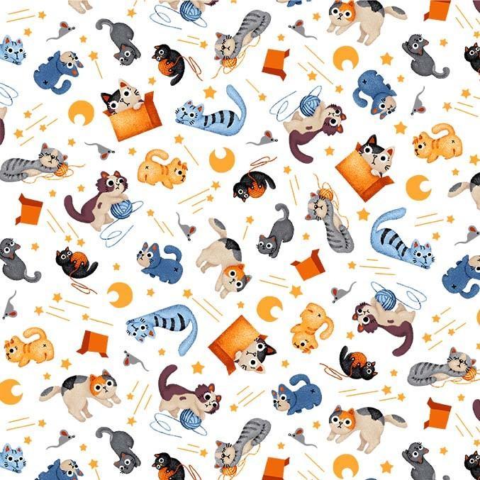 Tela patchwork blanca con gatitos y lunas