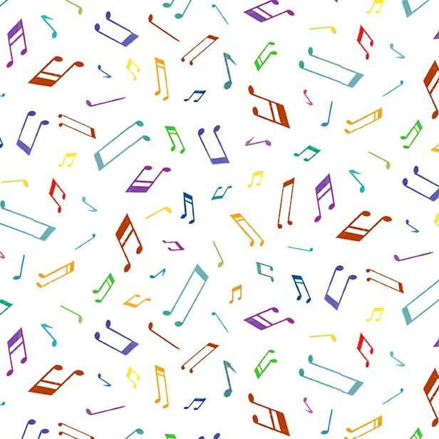 Tela patchwork blanca con notas musicales de colores