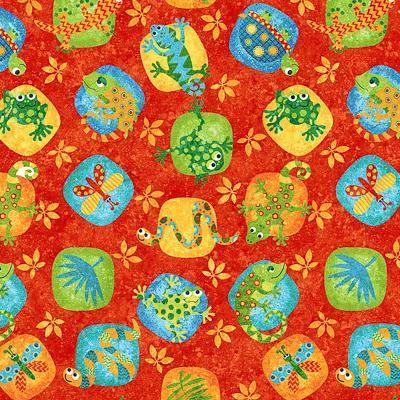 Tela patchwork roja con animalitos