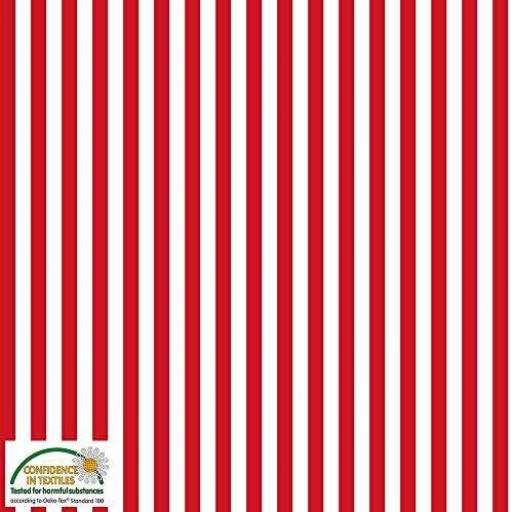 Tela patchwork de fondo blanco con rayas rojas 926
