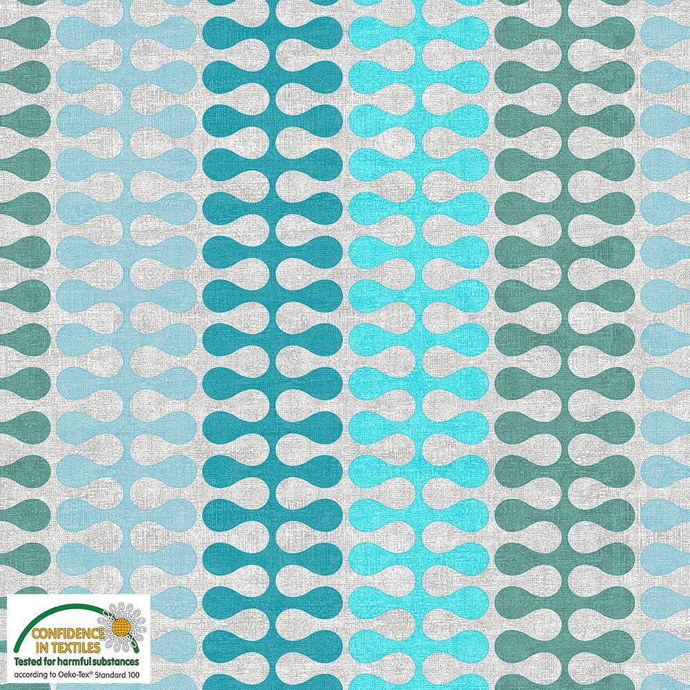 Tela patchwork de fondo gris con ondas verdosas