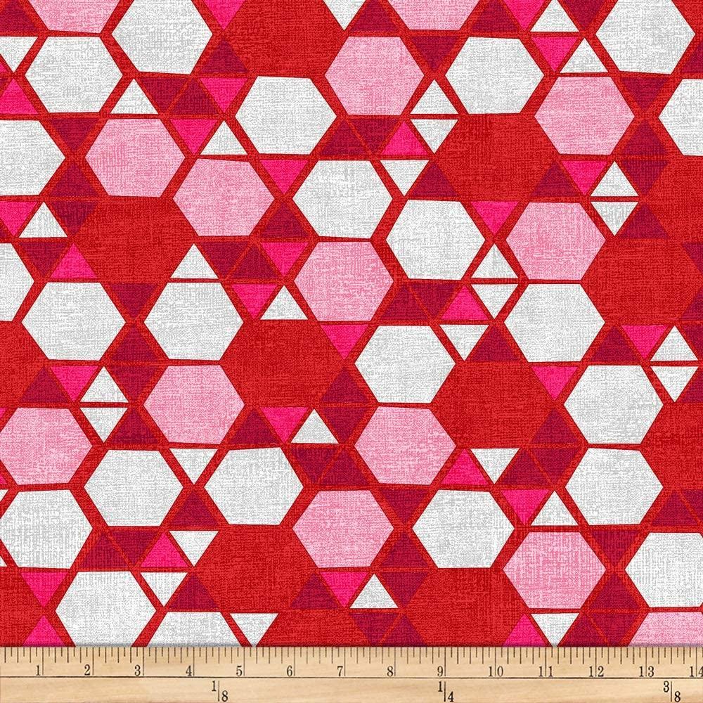 Tela patchwork de fondo gris con hexágonos rojos 846