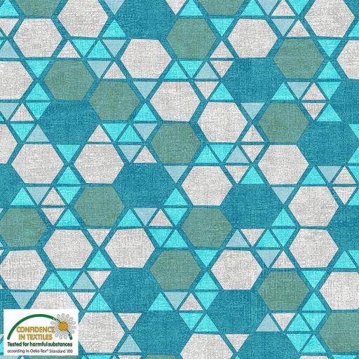 Tela patchwork de hexágonos en tonos verdosos