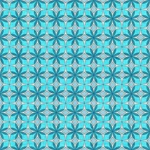 Tela patchwork de fondo gris con dibujos geométricos en azules