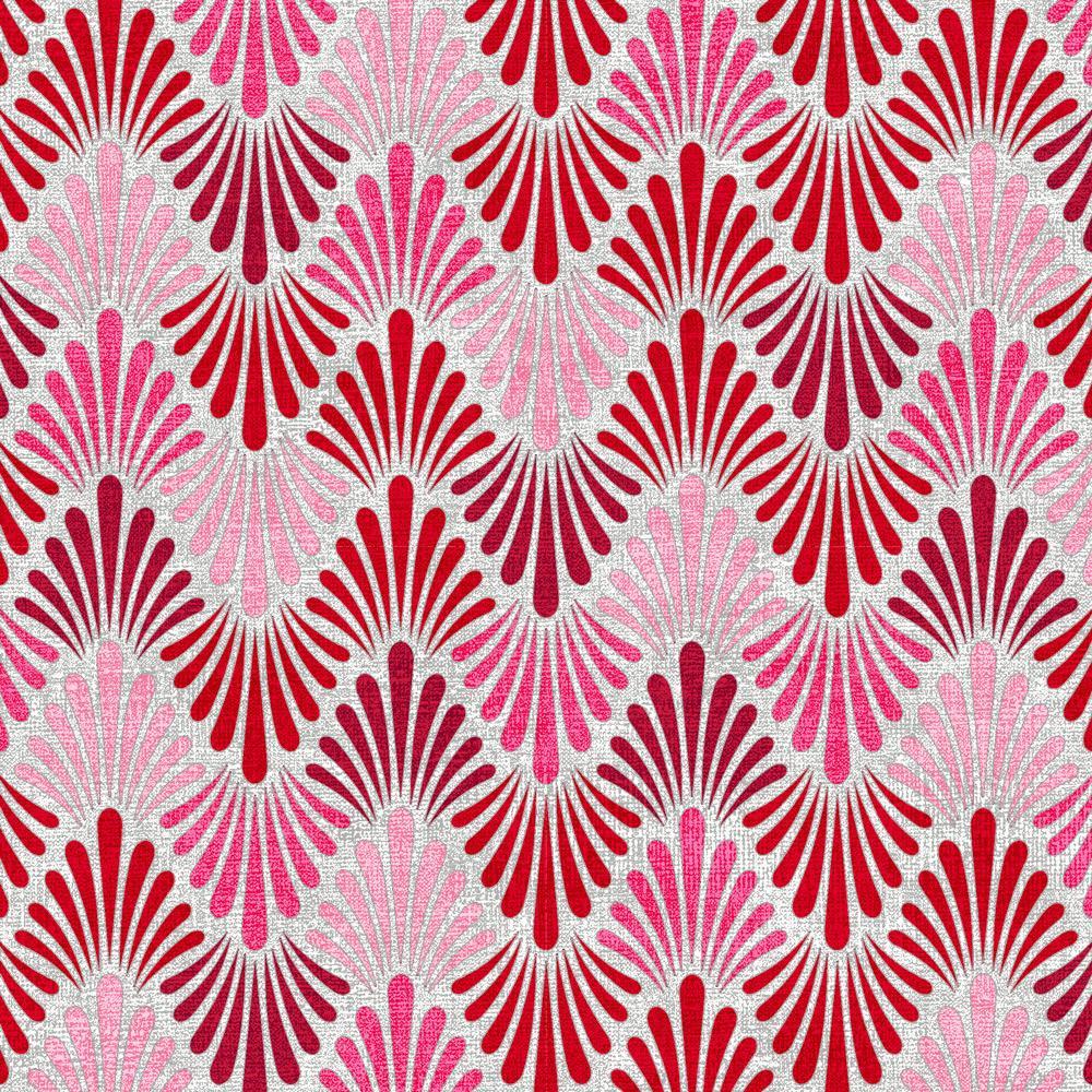 Tela patchwork de fondo gris con dibujos geométricos rojos 858