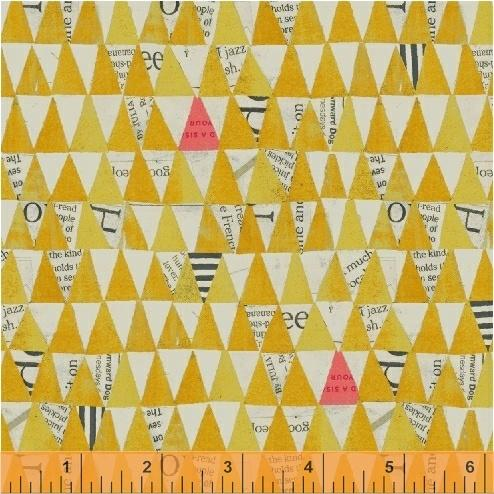 Tela patchwork con banderillas grises y amarillas 50521
