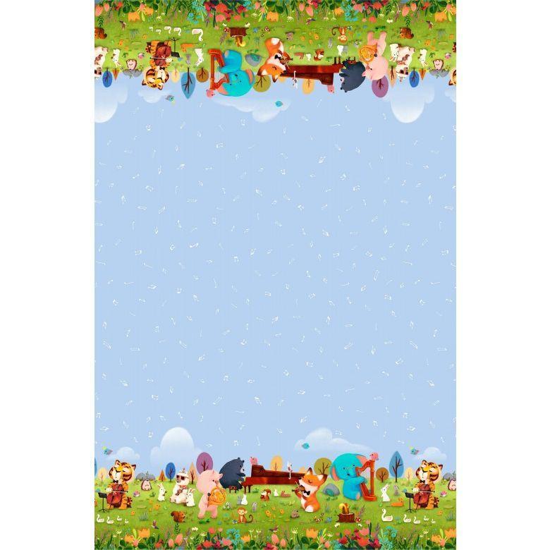 Tela patchwork azul con cenefas de animalitos tocando