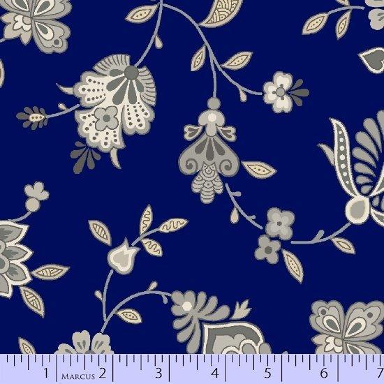 Tela patchwork de fondo azul marino con flores grandes