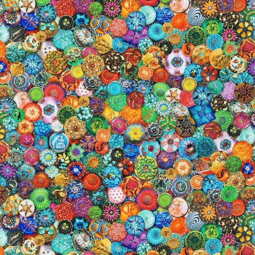 Tela patchwork de multicolor con botones