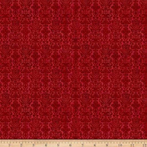 Tela patchwork roja con brocados oscuros Gorjuss