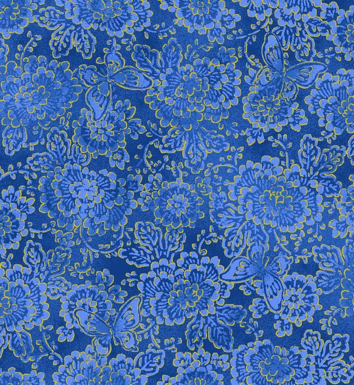 Tela patchwork de fondo azul con flores y mariposas doradas