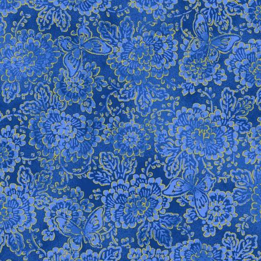 Tela fondo azul con flores y mariposas doradas