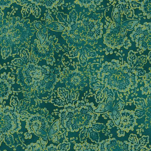 Tela patchwork de fondo verde con flores doradas