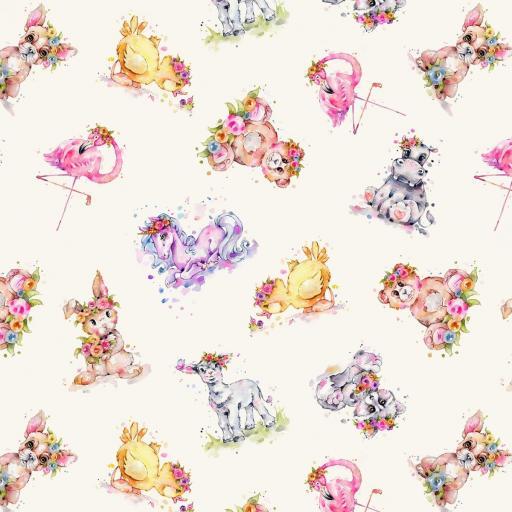 Tela patchwork de fondo marfil con animalitos