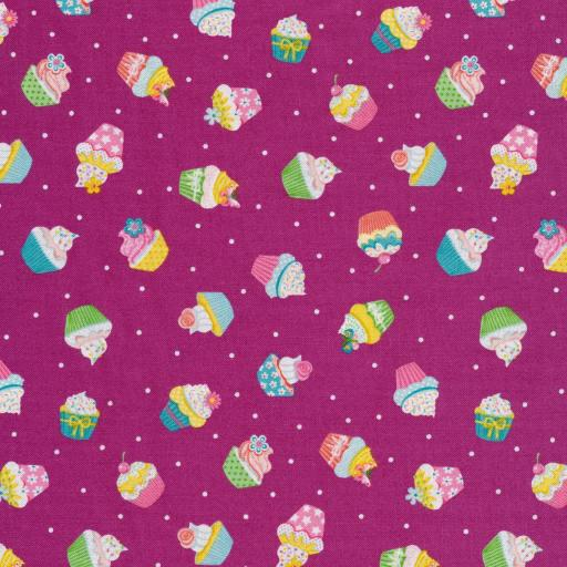Tela patchwork de fondo morado con cupcakes