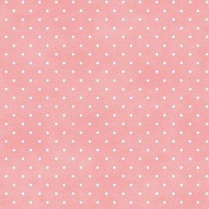 Tela fondo rosa con topitos blancos