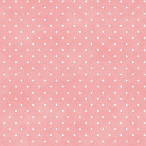 Tela patchwork de fondo rosa con topitos blancos