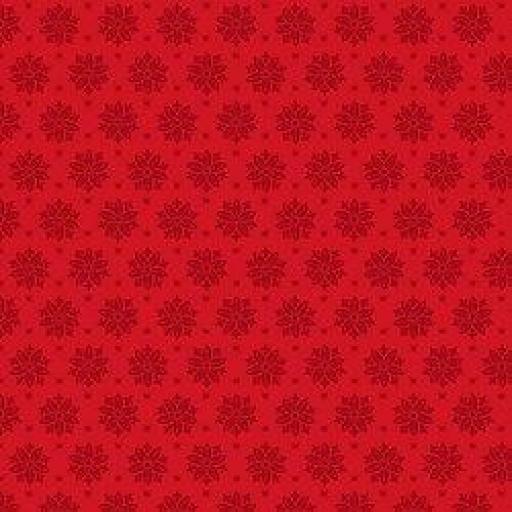 Tela patchwork de fondo rojo con flores negras