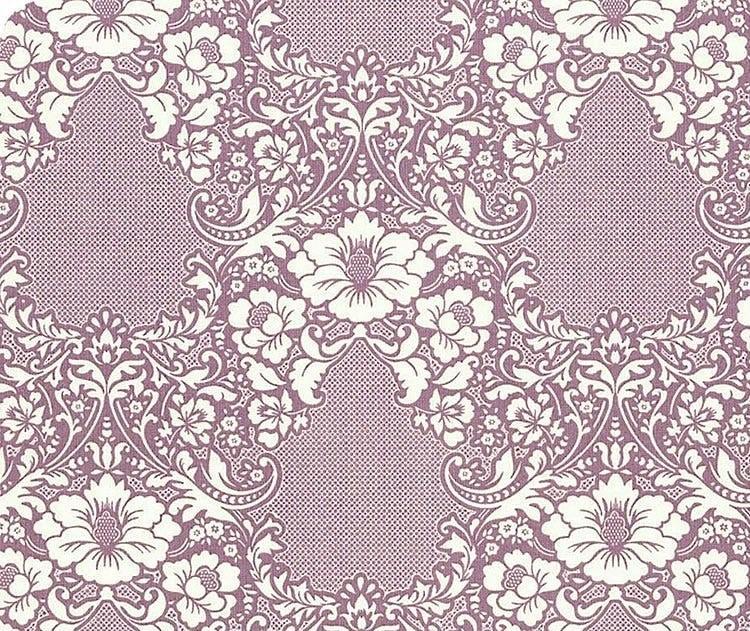 Tela patchwork fondo malva con flores blancas Tilda