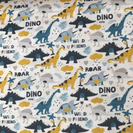 Tela algodón blanca con dinosaurios