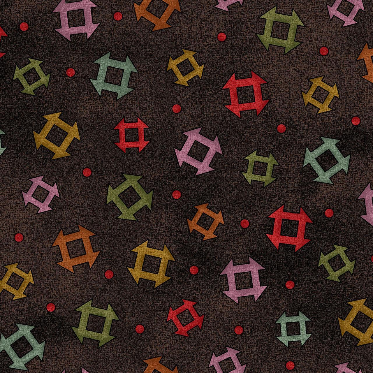 Tela patchwork franela oscura con pieceo de colores