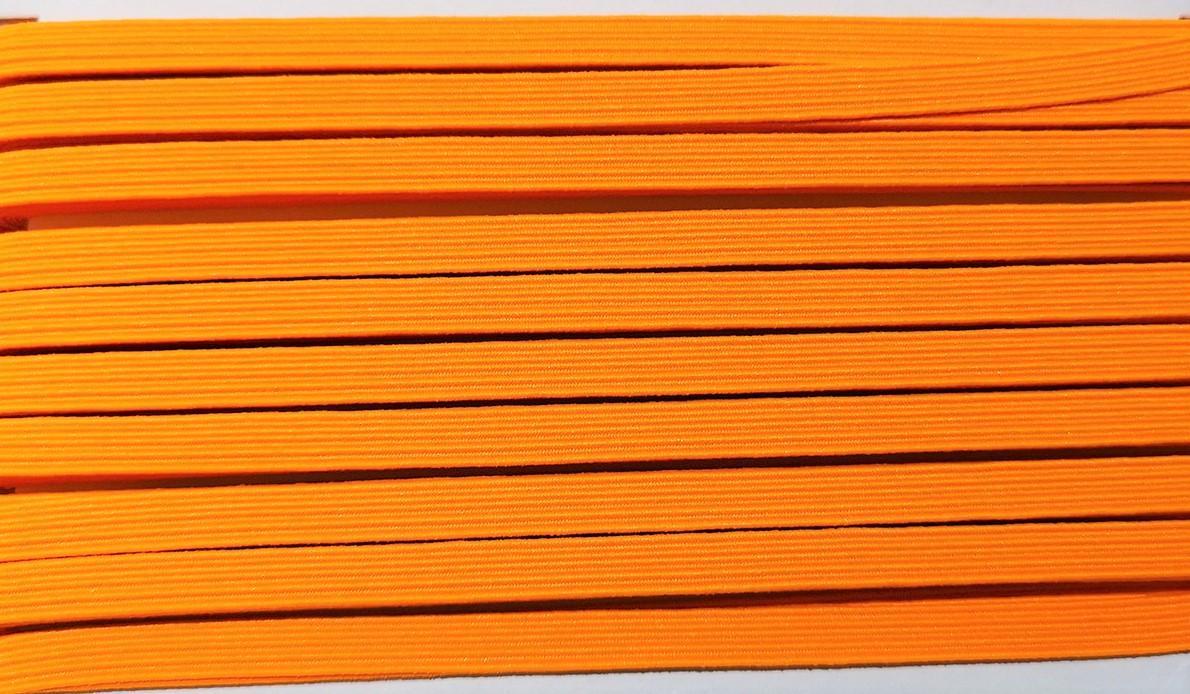 Goma plana naranja flúor 6 mm