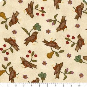 Tela patchwork franela cruda con pájaros y flores