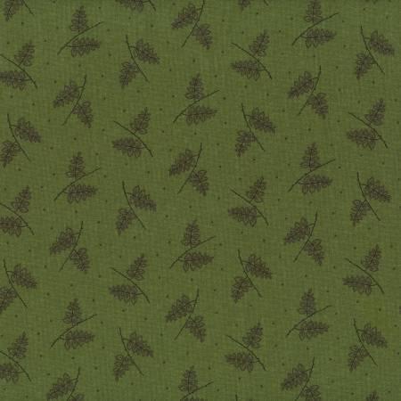 Tela patchwork fondo verde con ramas oscuras 66