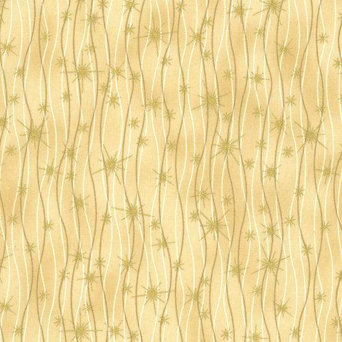 Tela patchwork fondo dorado con ondas y estrellas