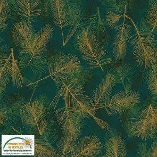 Tela patchwork fondo verde con plumas doradas